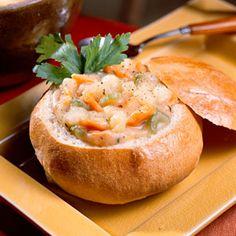 homemade breadbowl recipe + click on the potato soup recipe to go with it!