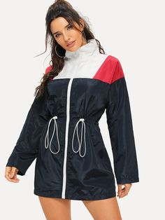 Shop Cut-and-sew Drawstring Waist Windbreaker Jacket online. SHEIN offers Cut-and-sew Drawstring Waist Windbreaker Jacket & more to fit your fashionable needs. Hai, Young Models, Windbreaker Jacket, Hoodie Jacket, Long Jackets, Drawstring Waist, Fashion News, Adidas Jacket, Cute Outfits