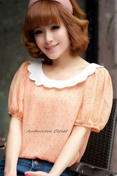 Scallop Collar Blouse (Orange)