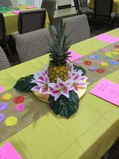 Pineapple centerpiece for surf's up luncheon