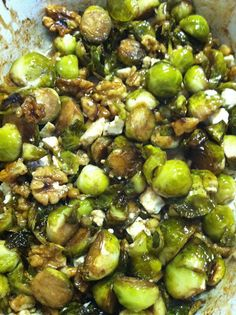 The Kitchen Botanist: Balsamic and Maple Roasted Brussels Sprouts with Walnuts and Feta