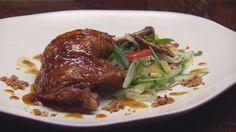 Twice Cooked Orange Glazed Chicken with Chilli and Cucumber Salad, Chicken Skin Salt