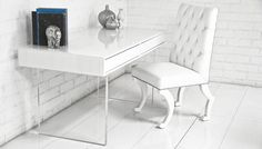 london white starfire glass desk