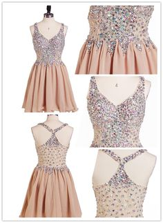 Tidetell.com Exquisite A-line V-neck Chiffon Homecoming Dress with Rhinestone, chiffon homecoming dresses, beaded homecoming dresses, homecoming dresses with straps, short prom dresses, party dresses, graduation dresses