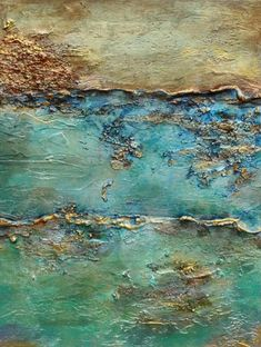 Oceans Alive No. 2 Oceans Alive is a high textured mixed media acrylic painting. Marble dust is used for texture along with sand and pumice. Multiple glazes and metallic are incorporated into the painting. Durable hi… Mixed Media Painting, Oil Painting Abstract, Abstract Canvas, Sand Painting, Knife Painting, Diy Painting, Texture Art, Texture Painting, Ocean Texture