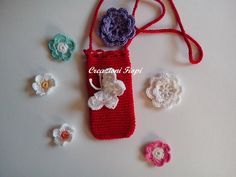 Crochet red necklace cell phone / case / by CREAZIONIFIOPI on Etsy