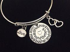 I Love You a Bushel and a Peck and a Hug Around the Neck Charm on a Silver Expandable Adjustable Bangle Bracelet Gift