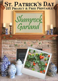 Are you a St. Patrick's Day lover? Make a fun and easy St. Patrick's Day Shamrock garland using felt, bakers twine and premade pom poms. Free printable pattern.
