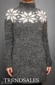 Icelandic Lopi Sweater - Big Star, via Etsy - chunky soft grey sweater dress w/ white snowflake / star intarsia motifs Fair Isle Knitting, Knitting Yarn, Knitting Patterns, Wool Yarn, Crochet Patterns, Icelandic Sweaters, Creative Knitting, Nice Tops, Knit Dress