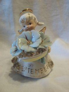 SEPTEMBER Morning Glory Sapphire Birthday Angel Figurine 32.00