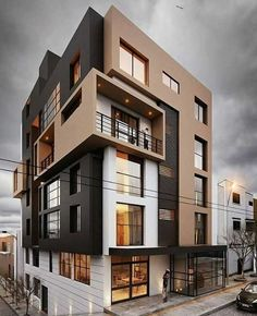 ideas apartment building facade design architecture for 2019 Building Elevation, Building Exterior, Building Facade, Building Images, Building Ideas, Modern Residential Architecture, Facade Architecture, Facade Design, Exterior Design