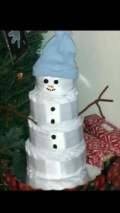 snowman diaper cake diapercakes by dc on facebook