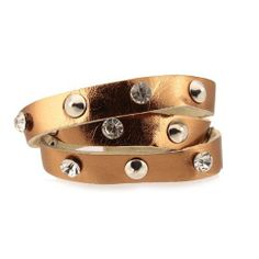 """Studded Wrap Bracelet; 22.5""""L; Bronze Strap; Silver Metal Hardware; Clear Rhinestones; Snap Closure; Eileen's Collection. $19.99"""