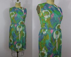 1960s Sheath Dress / 60s Green Chiffon Wiggle by livinvintageshop