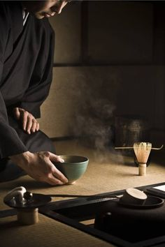 During a Japanese Tea Ceremony, the movements, gestures and placement of tea utensils are precise.