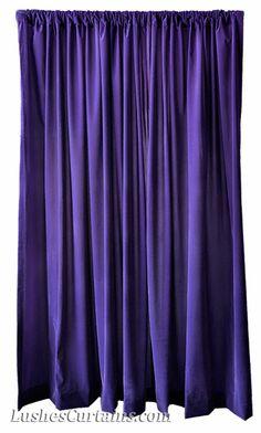 Purple Flocked Velvet Curtain Panels. Cortinas Moradas de terciopelo.