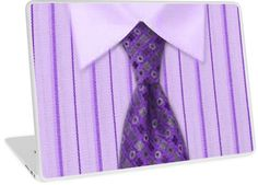 Mens Purple Pin Striped Shirt & Tie | Design available for PC Laptop, MacBook Air, MacBook Pro, & MacBook Retina