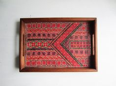 Handled Wood Tray with Beautiful Geometric Cross by TheeLetterQ, $40.00