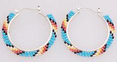 Native American Navajo Handmade Beaded Hoop Earrings