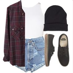 90s grunge outfit: plaid, high-waisted acid wash cut-offs, black beanie, vans