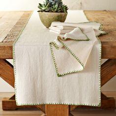 Blanket Stitch Table Runner, Dijon