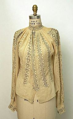 Romanian Blouse / Ie / La blouse roumaine / Date: . Dimensions: [no dimensions available]. Credit Line: Gift of Art Worker's Club, 1945 Folk Fashion, Vintage Fashion, Ethnic Fashion, Embroidery Fashion, Folk Costume, Couture, Blouse Vintage, Historical Clothing, Fashion History