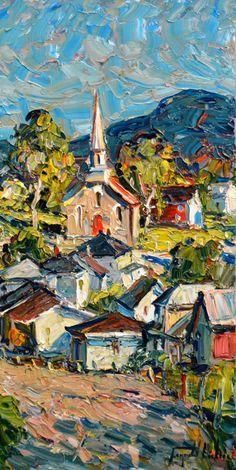 SAINT-FIDÈLE, CHARLEVOIX - LECLERC RAYNALD Abstract Landscape, Landscape Paintings, Landscape Design, Caribbean Art, Palette Knife Painting, Beautiful Paintings, Art And Architecture, New Art, Watercolor Art