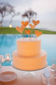 Glitter Heart Cake Topper -- On SMP Weddings: http://www.stylemepretty.com/2013/08/02/punta-de-mita-wedding-from-the-dazzling-details/ Jen Philips Photography