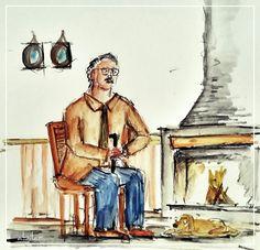 El hombre su perro y la estufa