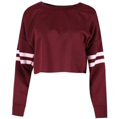 Be Jealous Women's Sport Stripe Long Sleeve Oversized Sweatshirt... (£5.32) ❤ liked on Polyvore featuring tops, hoodies, sweatshirts, red crop top, striped crop top, oversized sweatshirts, red sweatshirt and striped sweatshirt