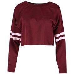 Be Jealous Women's Sport Stripe Long Sleeve Oversized Sweatshirt... ($6.99) ❤ liked on Polyvore featuring tops, hoodies, sweatshirts, sports sweatshirts, red sweatshirt, crop top, long sleeve tops and stripe crop top