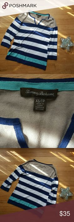 Tommy Bahama V-Neck Light Sweater Three-quarter-sleeve sweater! Excellent condition, no issues! Perfect spring colors :) Tommy Bahama Tops