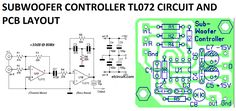 Subwoofer controller uses a single IC TL072 circuit diagram