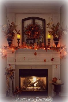 fall home decor our 2013 fall mantel, seasonal holiday d cor, wreaths, Nighttime ambiance Fall Fireplace Decor, Fall Mantel Decorations, Fireplace Mantels, Thanksgiving Decorations, Seasonal Decor, Fall Mantels, Mantle Ideas, Fireplaces, Autumn Mantel