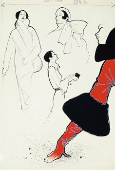 Illustration by René Gruau, ca 1950, Model for glove, Gouache and ink on paper.