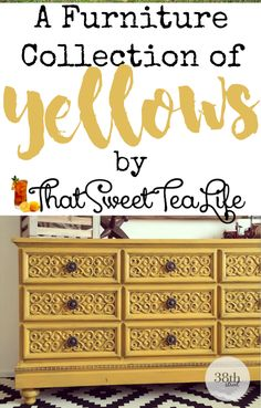 yellow painted furniture arles chalk painted furniture goldenrod beeswax furniture without sanding furniture fabric furniture distressed furniture whimsical Painted Bedroom Furniture, Yellow Chalk Paint, Yellow Furniture, Painted Furniture For Sale, Painted Desk, Painted Furniture Colors, Yellow Painted Furniture, Yellow Chest Of Drawers, Yellow Chests