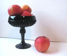 black milk glass | Black Milk Glass Pedestal Bowl
