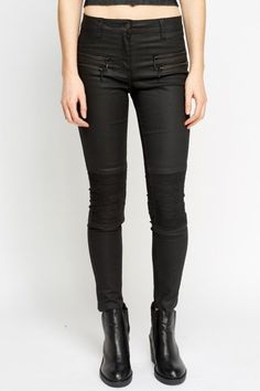 Black Waxed Textured Jeans
