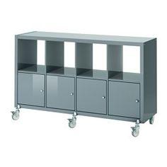 "IKEA - KALLAX, Shelf unit on casters with 4 doors, high-gloss gray-turquoise, 57 7/8x35 "","
