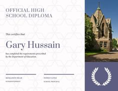 Use this customizable Violet Patterned High School Diploma Certificate template and find more professional designs from Canva. Certificate Of Participation Template, Certificate Templates, High School Diploma, High School Graduation, Globe Icon, University Diploma, Certificate Of Appreciation, Student Awards, Certificate Of Completion