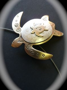 sterling silver & bronze sea turtle pendant created by moonheartstudios.etsy.com