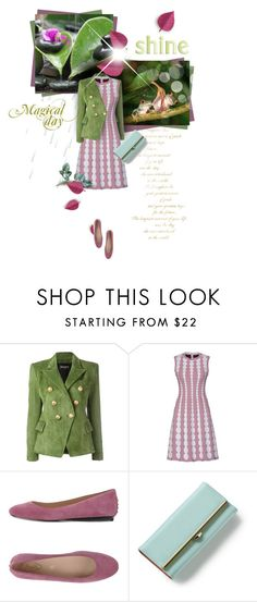 """Green Coat on a Rainy Day"" by maison-de-forgeron ❤ liked on Polyvore featuring Balmain, Alaïa and Tod's"