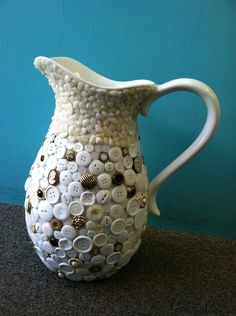 ButtonShop.ca - Victorian Style White Button Pitcher- $125.00 USD
