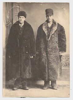 Early 1900s Old Photo 2 Men wearing Fur Coats Hats Boots Photograph vintage