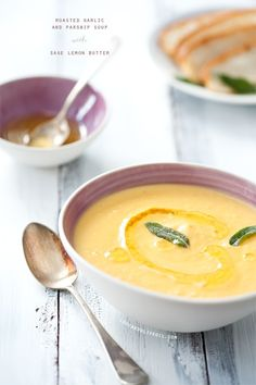 Roasted garlic and parsnip soup with sage lemon butter from Love & Olive Oil