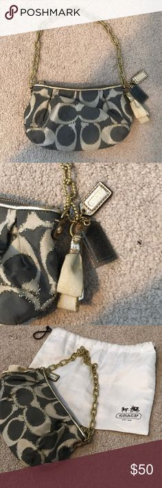 Coach Fabric Dressy Handbag Gently used coach dress purse with gold chain. Includes originally bow keychain and coach tags. Also comes in original bag. Minor spotting (see attached pics). Coach Bags Mini Bags