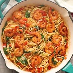 Spicy Shrimp Spinach Pasta - An Easy 30 minute weeknight spaghetti dinner that delivers a huge punch of flavor with no cream and just a handful of ingredients. dinner for teens Spicy Shrimp Spinach Pasta Shrimp Recipes For Dinner, Seafood Dinner, Salmon Recipes, Seafood Recipes, Healthy Dinner Recipes, Cooking Recipes, Spaghetti With Shrimp Recipes, Easy Shrimp Pasta Recipes, Healthy Shrimp Pasta