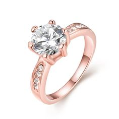 18K Rose Plated 6Ct Simulated Diamond Ring Size, Women's
