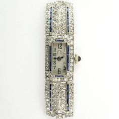 Circa Lady's Tiffany & Co Art Deco Single Cut Diamond, Platinum Filigree and Sapphire Watch with Manual Movemen. on Dec 2016 Tiffany Art, Tiffany And Co, Fine Watches, Ladies Watches, Art Deco Watch, Flapper Style, Vintage Watches, 1920s, Diamond Cuts