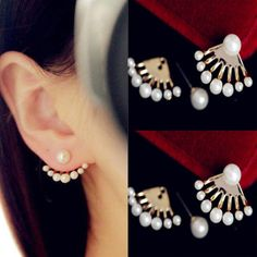 Korean Womens Jewelry Clip Earrings Fashion Girls Pearls ear Studs Earbobs Gift #FashionElegant #EarStuds